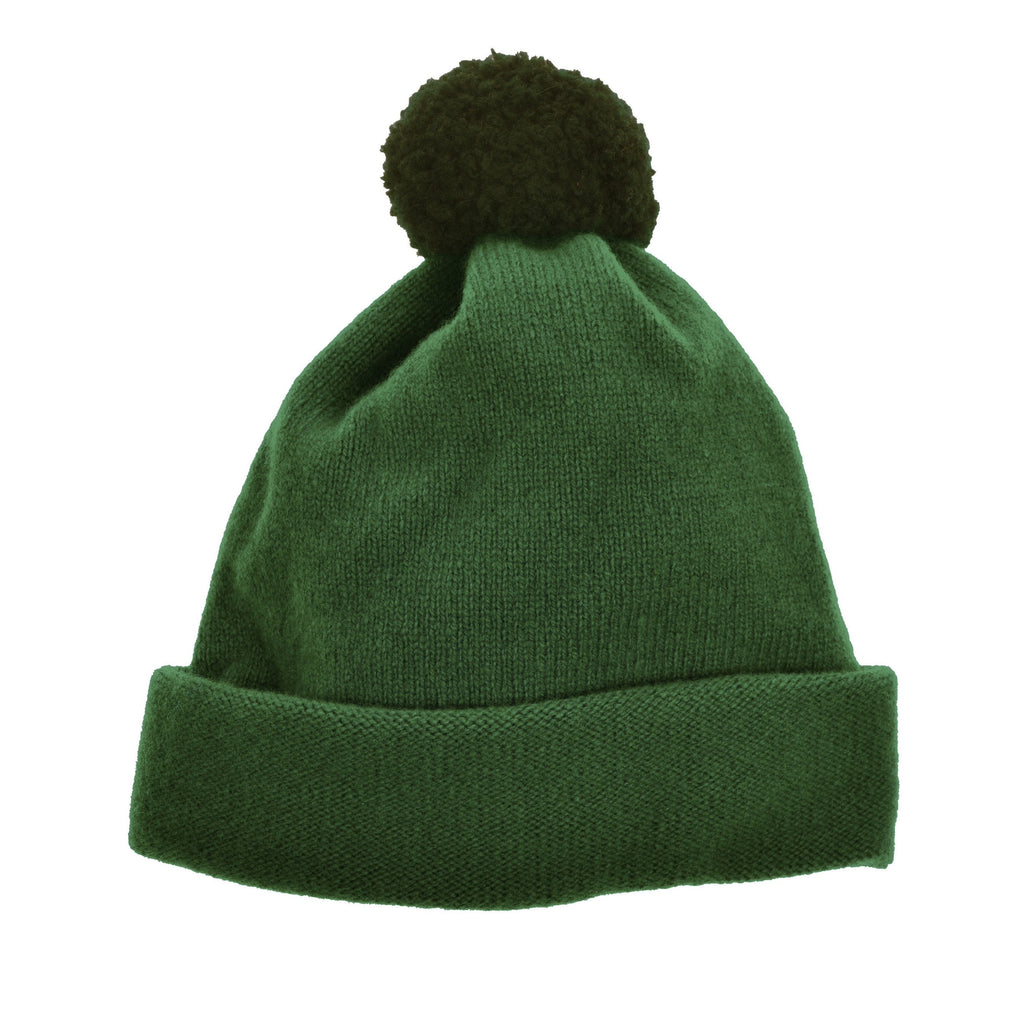 Child's bobble hat green wool by Britannical luxury children's clothing made in Britain