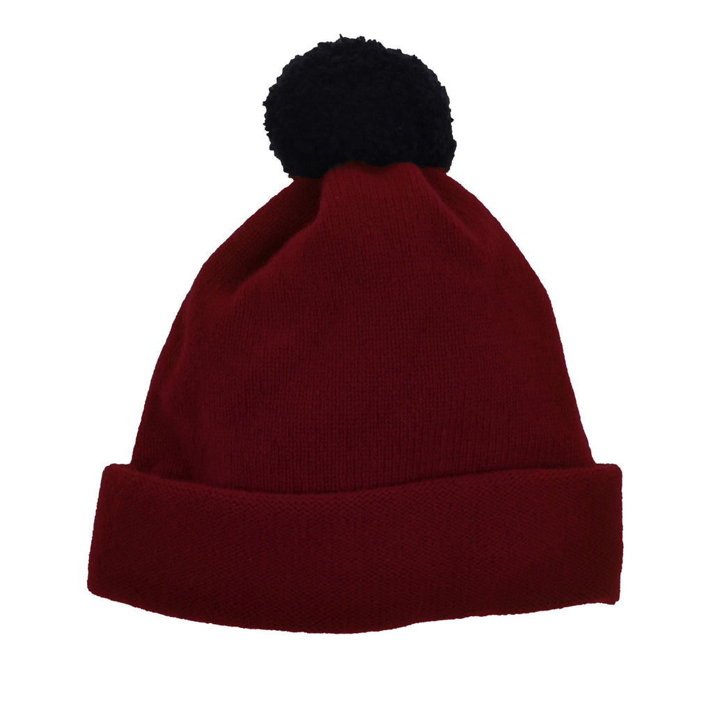 THE GREAT BRITISH BABY COMPANY CHILD'S BOBBLE HAT RED BURGUNDY. LUXURY CHILDREN'S CLOTHING BRITISH MADE IN BRITAIN