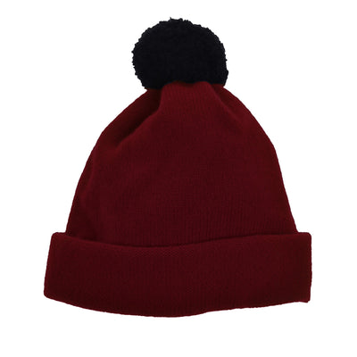 Children's bobble hat kids hat burgundy red wool by Britannical luxury children's coats luxury children's accessories luxury children's clothing made in Britain