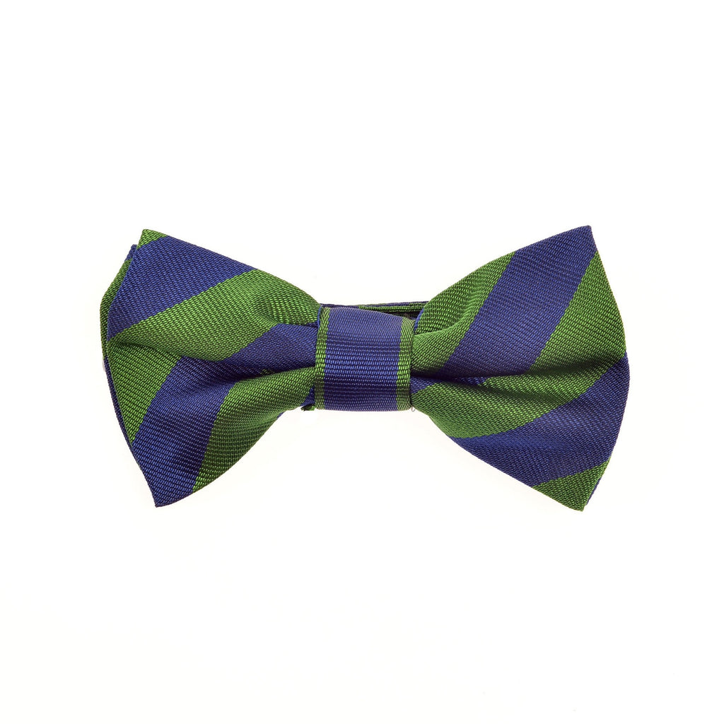 Child's bow tie silk green blue stripes by Britannical luxury children's clothing made in Britain