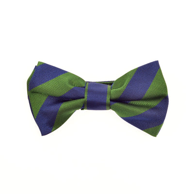 Children's bow tie boys bow tie green blue stripes silk by Britannical luxury children's coats luxury kids coats luxury children's accessories made in britain