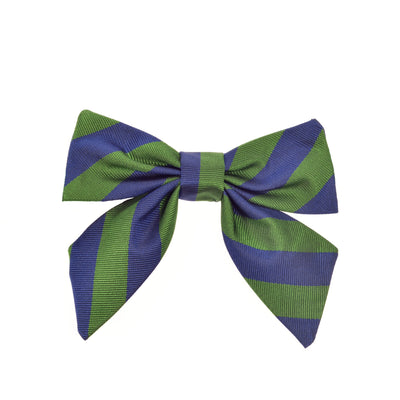 Girls bow bow tie green blue stripes silk by Britannical luxury children's coats luxury kids coats luxury children's accessories made in britain