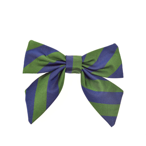 THE GREAT BRITISH BABY COMPANY CHILD'S BOW SILK BLUE GREEN STRIPES. LUXURY CHILDREN'S CLOTHING & ACCESSORIES BRITISH MADE IN BRITAIN