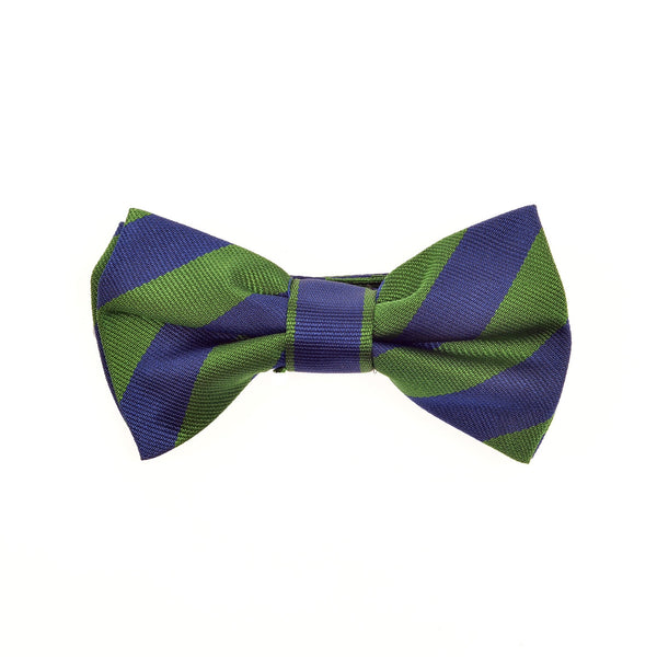 THE GREAT BRITISH BABY COMPANY CHILD'S BOWTIE SILK BLUE GREEN STRIPES. LUXURY CHILDREN'S CLOTHING & ACCESSORIES BRITISH MADE IN BRITAIN
