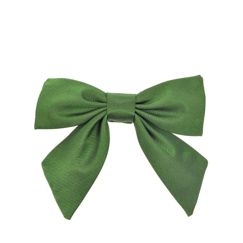 Child's neck bow silk green by Britannical luxury children's clothing made in Britain