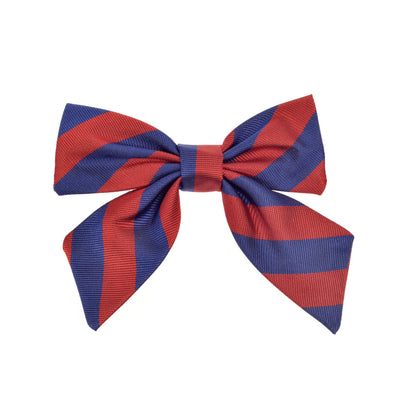Girls bow bow tie red blue stripes silk by Britannical luxury children's coats luxury kids coats luxury children's accessories made in britain