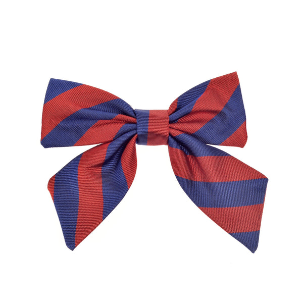 THE GREAT BRITISH BABY COMPANY CHILD'S BOW SILK RED BLUE STRIPES. LUXURY CHILDREN'S CLOTHING & ACCESSORIES BRITISH MADE IN BRITAIN