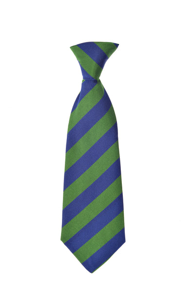 THE GREAT BRITISH BABY COMPANY CHILD'S TIE SILK BLUE GREEN STRIPES. LUXURY CHILDREN'S CLOTHING & ACCESSORIES BRITISH MADE IN BRITAIN