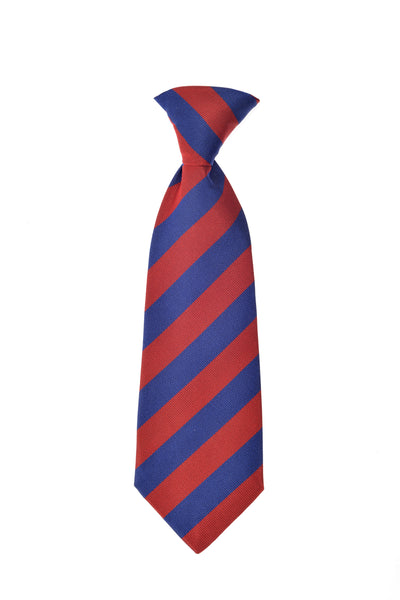 Child's neck tie silk blue red stripes by Britannical luxury children's clothing made in Britain