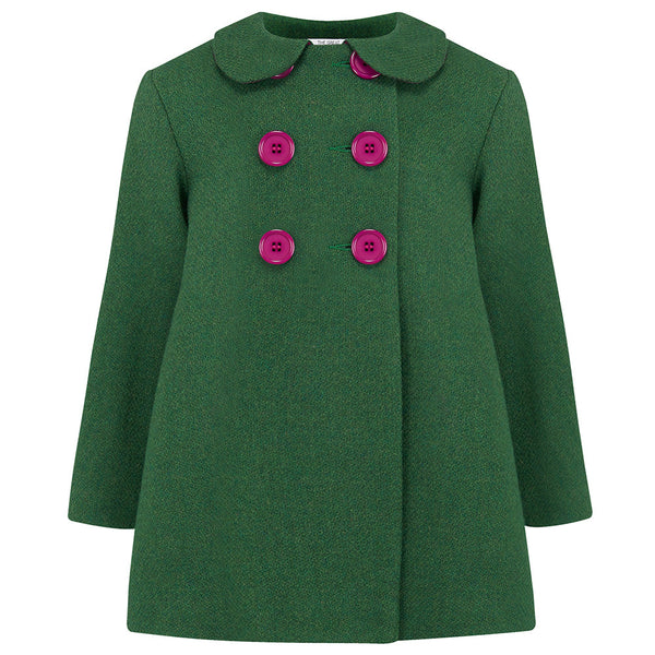 THE GREAT BRITISH BABY COMPANY GIRL'S COAT GREEN WOOL PETER PAN COLLAR. LUXURY CHILDREN'S CLOTHING BRITISH MADE IN BRITAIN