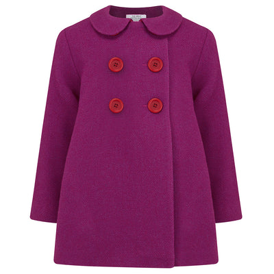 Girls pea coat pink magenta wool Bloomsbury by Britannical luxury children's clothing made in Britain
