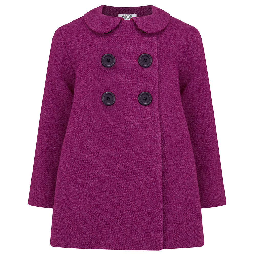 Girl's pea coat magenta pink wool Bloomsbury style by Britannical luxury children's coats luxury kids coats luxury children's clothing made in Britain