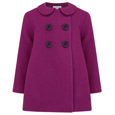 Girls pea coat pink magenta wool Bloomsbury style by Britannical luxury children's coats luxury kids coats luxury children's clothing made in Britain