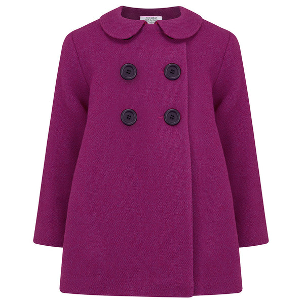 THE GREAT BRITISH BABY COMPANY GIRL'S COAT PINK WOOL PETER PAN COLLAR. LUXURY CHILDREN'S CLOTHING BRITISH MADE IN BRITAIN