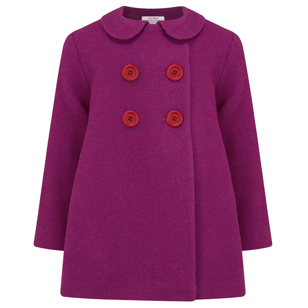 THE GREAT BRITISH BABY COMPANY GIRL'S COAT PINK WOOL PETER PAN COLLAR. LUXURY BRITISH CHILDREN'S CLOTHING