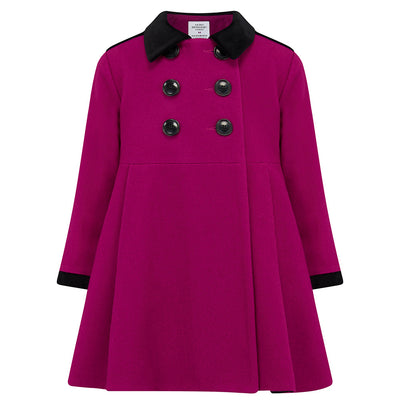 Girl's dress coat pink wool Sandringham style by Britannical luxury children's coats luxury kids coats luxury children's clothing made in Britain