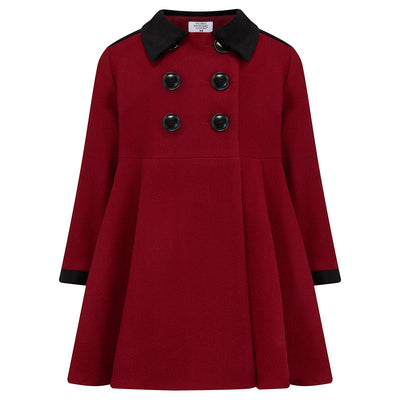 Girls dress coat red wool Sandringham style by Britannical luxury children's coats luxury kids coats luxury children's clothing made in Britain