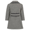 Girl's coat black white monochrome wool boucle 1950s Kensington style by Britannical luxury children's clothing made in Britain