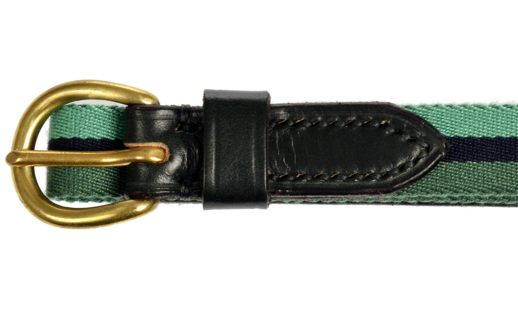 Child's leather belt green striped by Britannical luxury children's clothing made in Britain