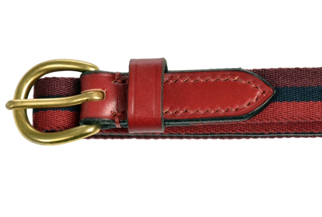 Child's leather belt red striped by Britannical luxury children's clothing made in Britain