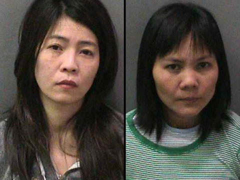 Booking photos of Lieu Thi Ha, left, and Hue Thi Chu