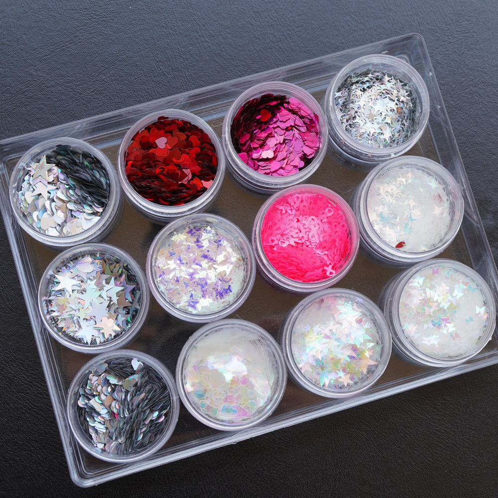 Heart/Butterfly/Star/Ribbon Shaped Holographic Glitter Set 12 Color