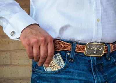 Leather belt and Longhorn trophy buckle