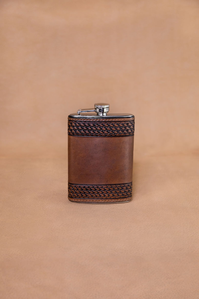 Other Leather Flask Chocolate Tooled Basket Weave Flask