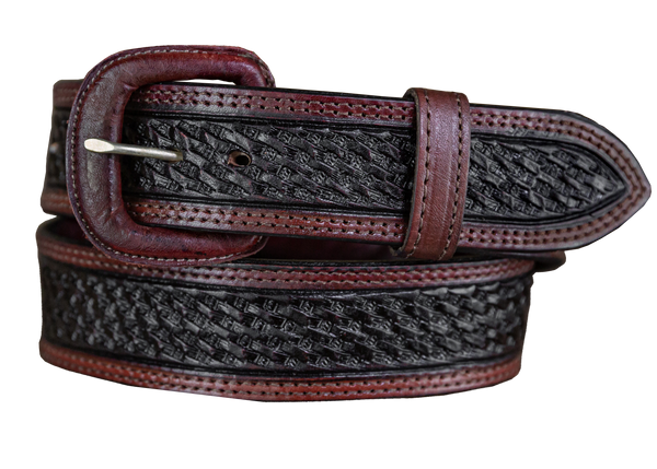 Vogt Silversmiths Belts Saddle Brown Basket Weave Pattern