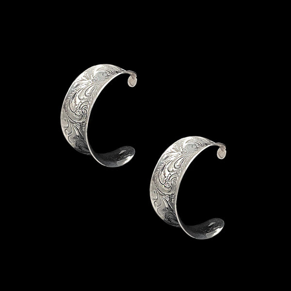 Vogt Silversmiths Earrings NEW! The Engraved Royale Hoops