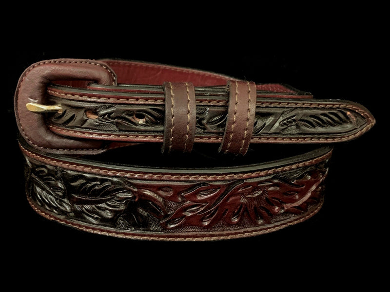 Vogt Silversmiths FINAL SALE LEATHER Deep Cherry Over Under Leaf Taper Size 42 Belts