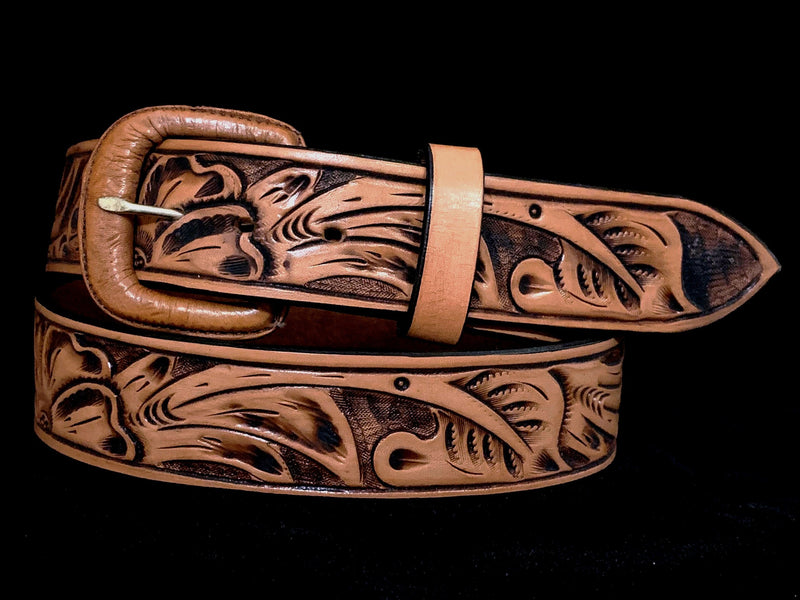 "Vogt Silversmiths FINAL SALE LEATHER Floral Russet 1 ½"" Straight Size 34 Belts"
