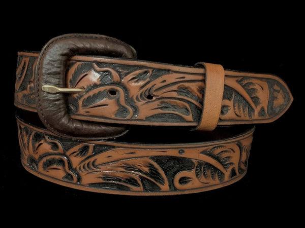 "Vogt Silversmiths FINAL SALE LEATHER Floral Tan Mocha 1 1/2"" Straight Size 42 Belts"