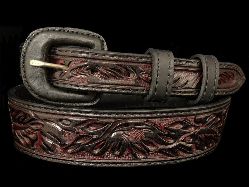 Vogt Silversmiths FINAL SALE LEATHER Red Cherry Floral Taper Size 34 Belts