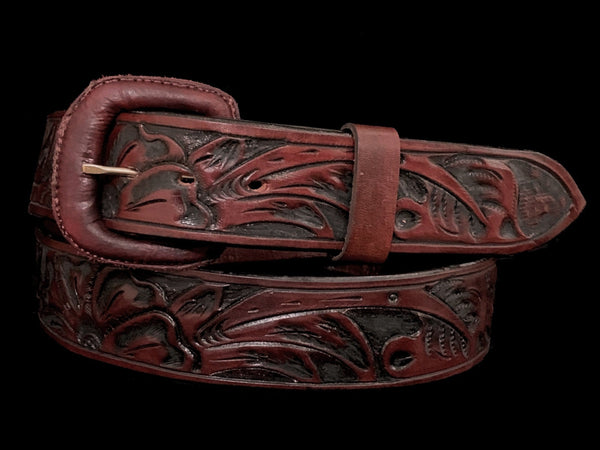 "Vogt Silversmiths FINAL SALE LEATHER Saddle Brown Floral 1 1/2"" Straight Size 38 Belts"