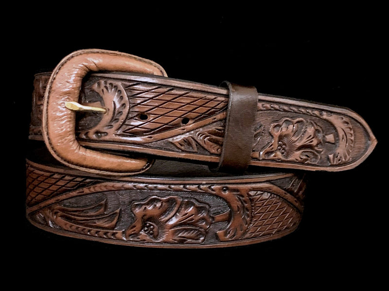 "Vogt Silversmiths FINAL SALE LEATHER Thatched Leaf Chocolate 1 1/2"" Straight Size 40 Belts"