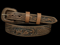 "Vogt Silversmiths FINAL SALE LEATHER Thatched Leaf Chocolate 1 1/2"" to 1"" Taper Size 40 Belts"