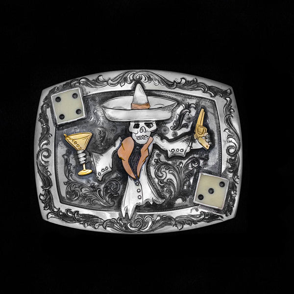 Vogt Silversmiths Johnny Bones Buckles Johnny Bones Trophy Sterling Silver and 14K GF Buckle