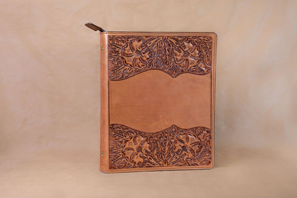 Vogt Silversmiths Leather Binders Russet Tooled Leather Binder