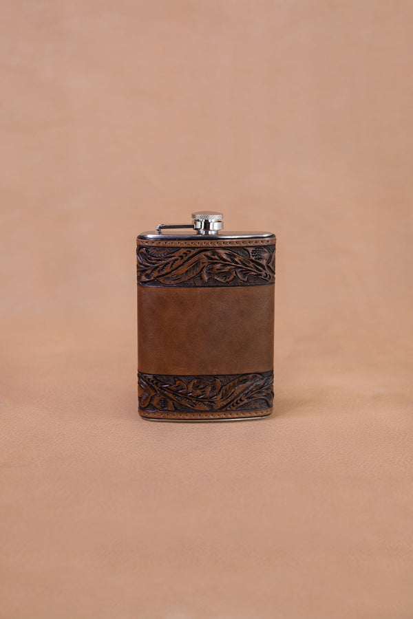 Vogt Silversmiths Leather Flask 8 oz Chocolate Running Leaf Flask
