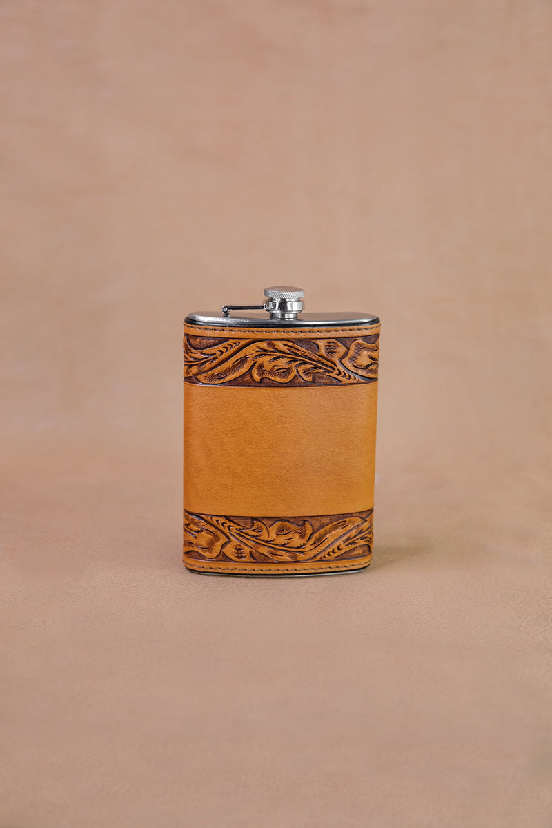 Vogt Silversmiths Leather Flask 8 oz Russet Running Leaf Flask