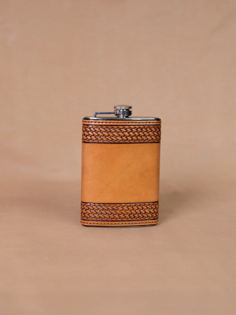 Vogt Silversmiths Leather Flask 8 OZ Russet Tooled Basket Weave Flask