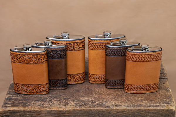 Vogt Silversmiths Leather Flask Chocolate Tooled Basket Weave Flask