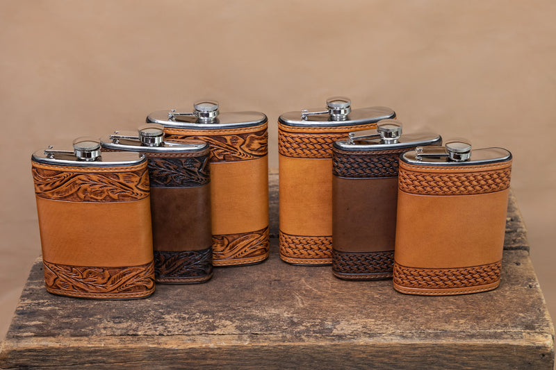 Vogt Silversmiths Leather Flask Russet Tooled Basket Weave Flask