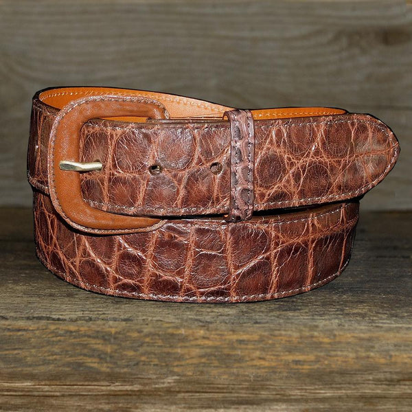 "Vogt Silversmiths Magna Belts 32"" / 1 1/2"" Straight Genuine Alligator in Chocolate"