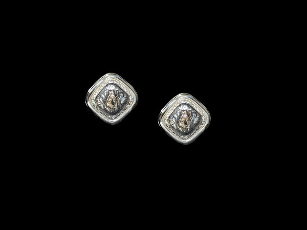 Vogt Silversmiths Pendleton Pendleton Sterling and 14K Gold Fill  with CZ Accents Concho Earrings