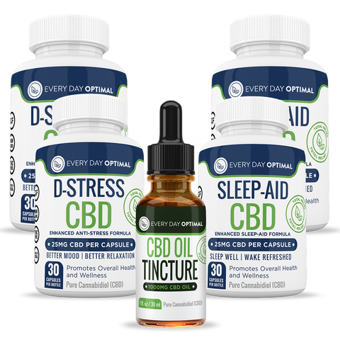 Sleep Aid CBD, 2 D-Stress CBD, and 1,000mg CBD Tincture Bundle