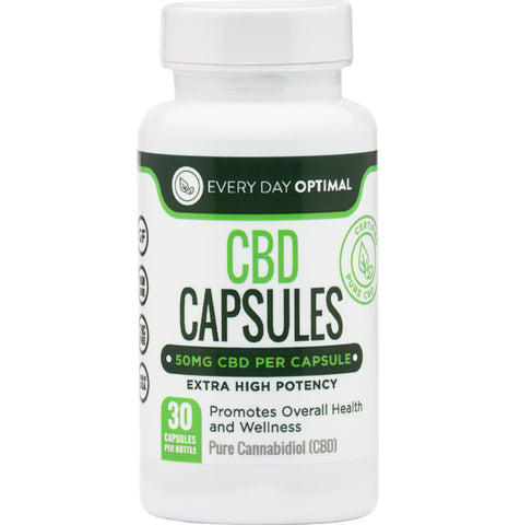 Pure CBD Oil Capsules, 50mg CBD Oil Per Pill, 1500mg Total