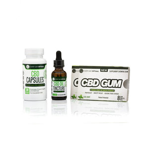 CBD Bundle #1 | 25mg Capsules, 1000mg Tincture, 2 Packs CBD Gum