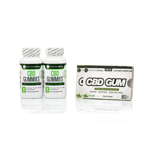 CBD Bundle #2 | 2 Bottles of 15mg Gummies, 2 Packs Of CBD Gum